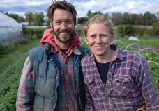 Jean-Martin Fortier and Maude-Hélène Desroches, the farmers at Les Jardins de la Grelinette, an internationally renowned micro-farm in Quebec, Canada