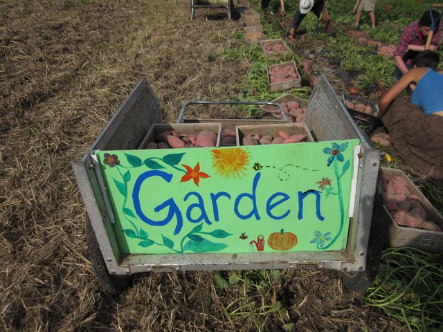One of our garden carts, tastefully decorated by guests Susie Anne and Jessie. Credit McCune Porter