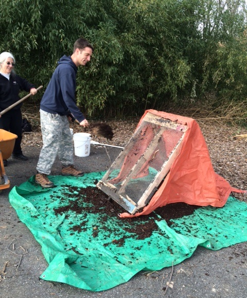 Freestanding compost screen in use. Photo by Beth LeaMond