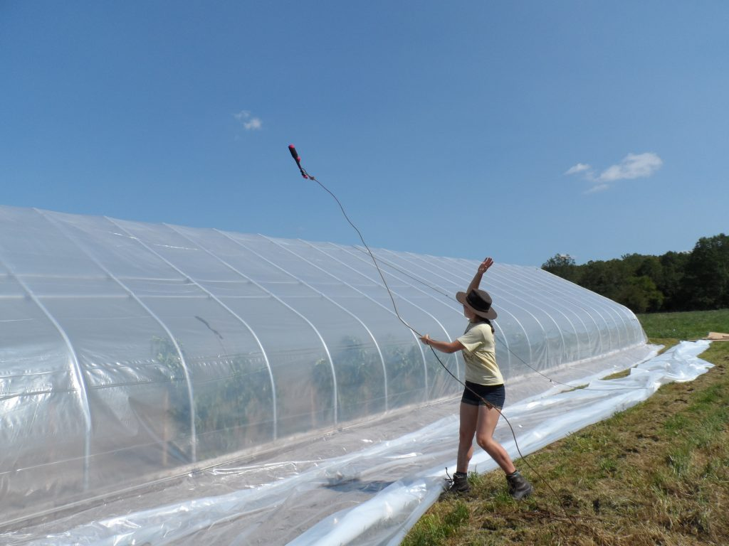 Replacing hoophouse plastic – Sustainable Market Farming